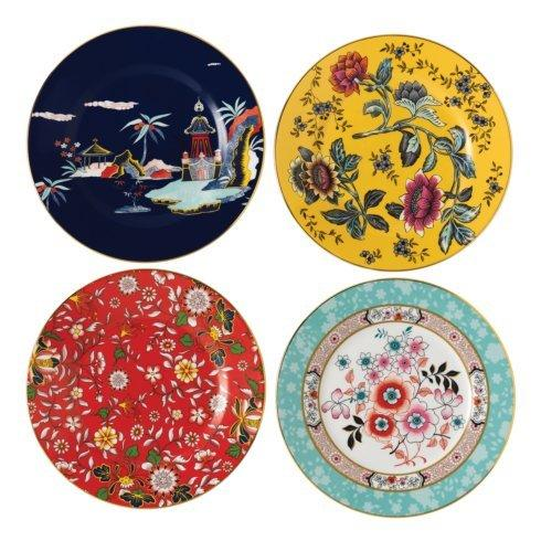 Wonderlust Plate 8 Set/4 (Blue Pagoda, Camellia, Crimson Jewel & Yellow Tonquin)