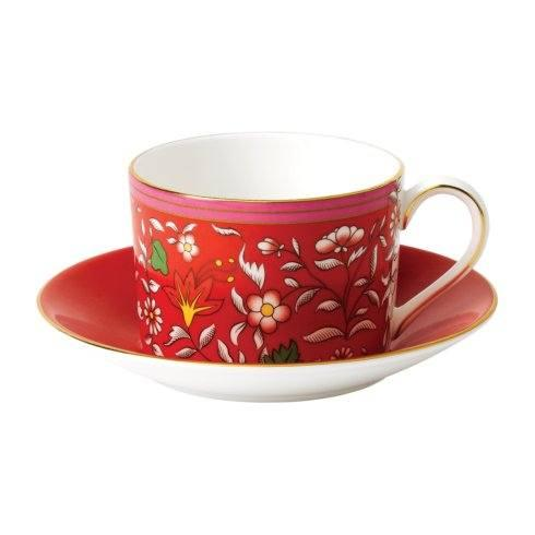 Wonderlust Teacup & Saucer Set Crimson Jewel
