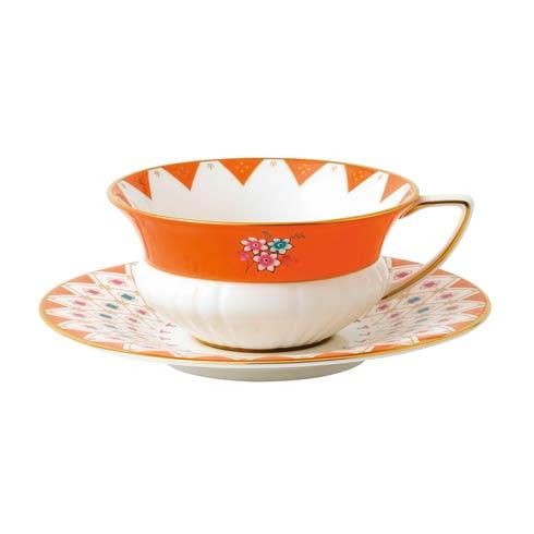 Wonderlust Teacup & Saucer Set Peony Diamond