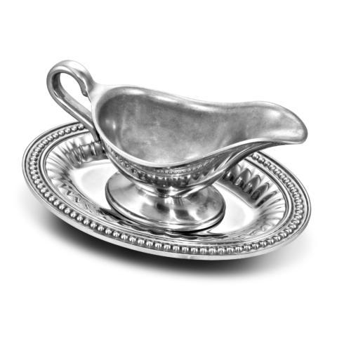 Flutes & Pearls Gravy Boat with Tray