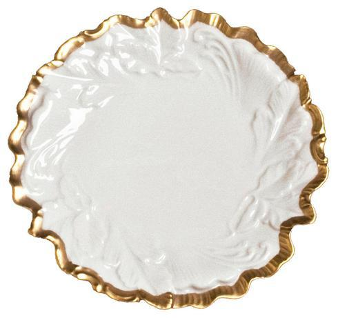 """Anna's Golden Patina Embossed Leaf Plate - 7.5"""""""