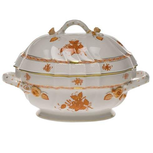 Chinese Bouquet Rust Tureen W/Branch - 2 qt