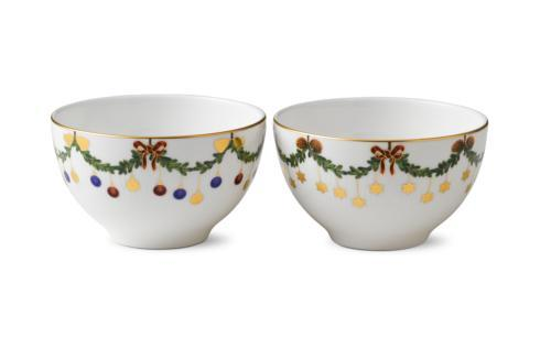 Star Fluted Christmas Chocolate Bowl S/2