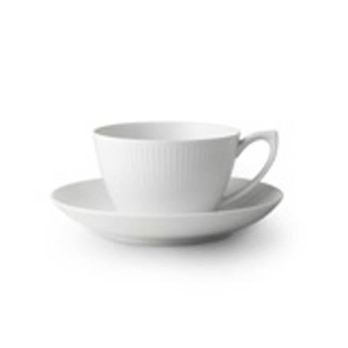 White Fluted Tea Cup & Saucer