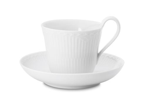 White Fluted Half Lace High Handle Cup & Saucer