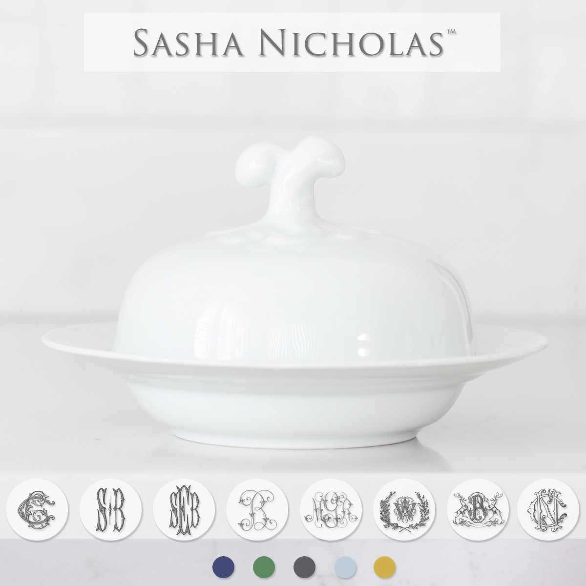 Sasha Nicholas custom dinnerware monogram crest monogrammed Wedding registry bridal gift covered bowl basketweave weave PHOTO DESC