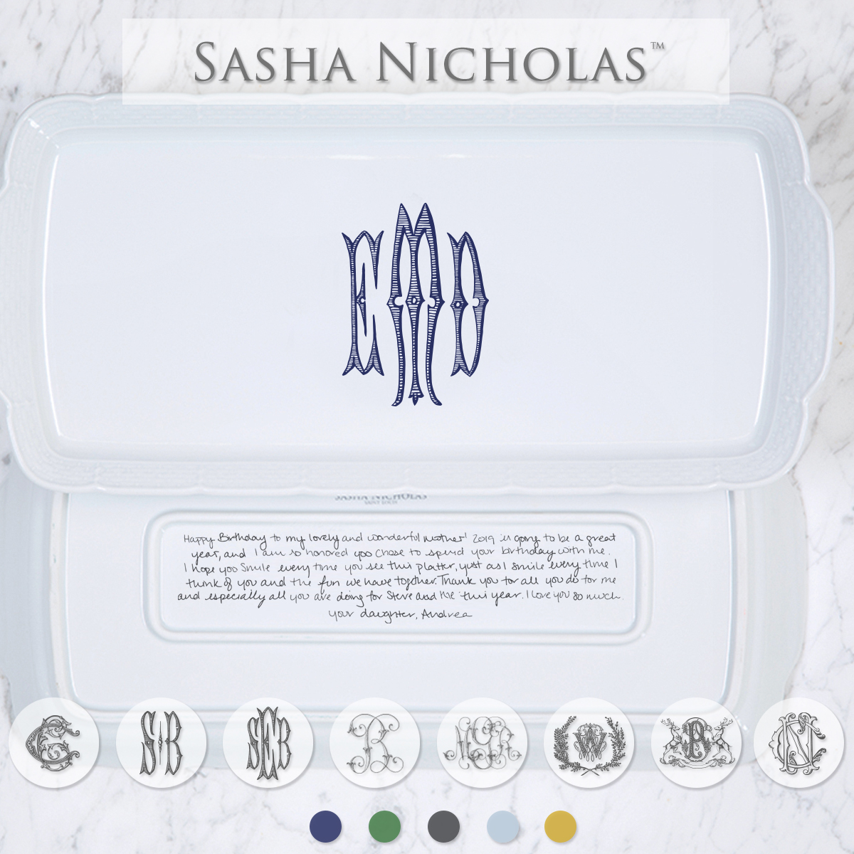 A beautiful addition to your dinnerware collection and to adorn your tablescapes with. It makes the perfect gift for your wedding registry with the included handwritten inscription on back. Choose from their signature font styles or use a custom monogram or crest of your choice! | Sasha Nicholas's white porcelain rectangle platter