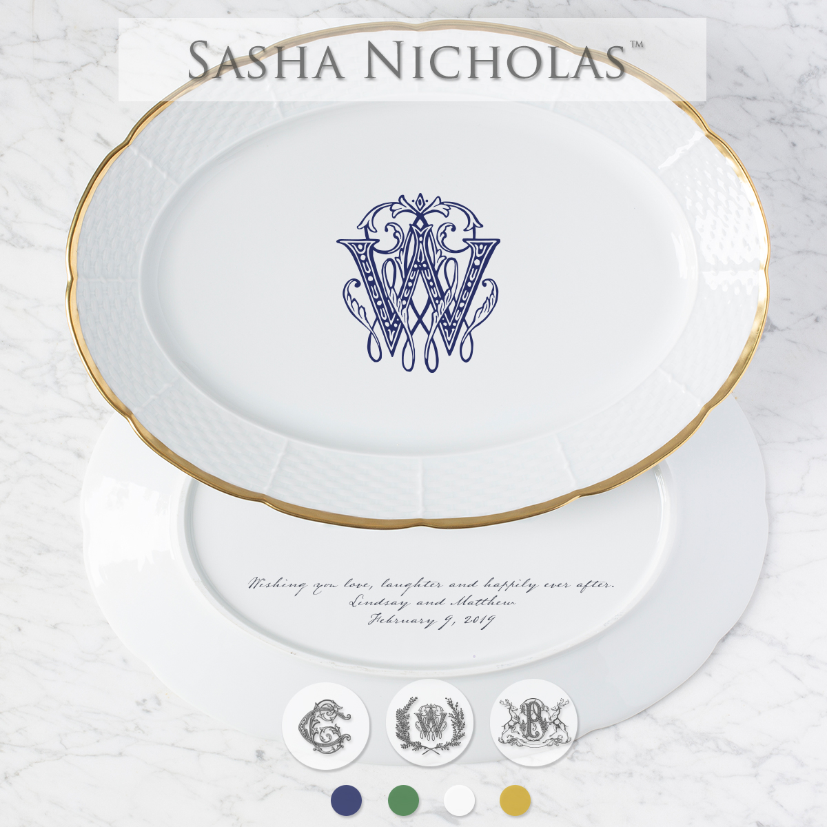 A beautiful addition to your dinnerware collection and to adorn your tablescapes with. It makes the perfect gift for your wedding registry with the included inscription on back. Choose from their signature font styles or use a custom monogram or crest of your choice! The 24K gold rim is quite stunning. | Sasha Nicholas's white porcelain 24K gold oval platter