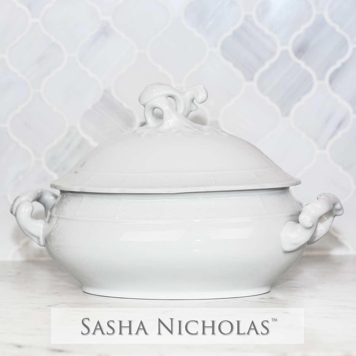 Tew-Ruoff Weave Simply White Covered Tureen