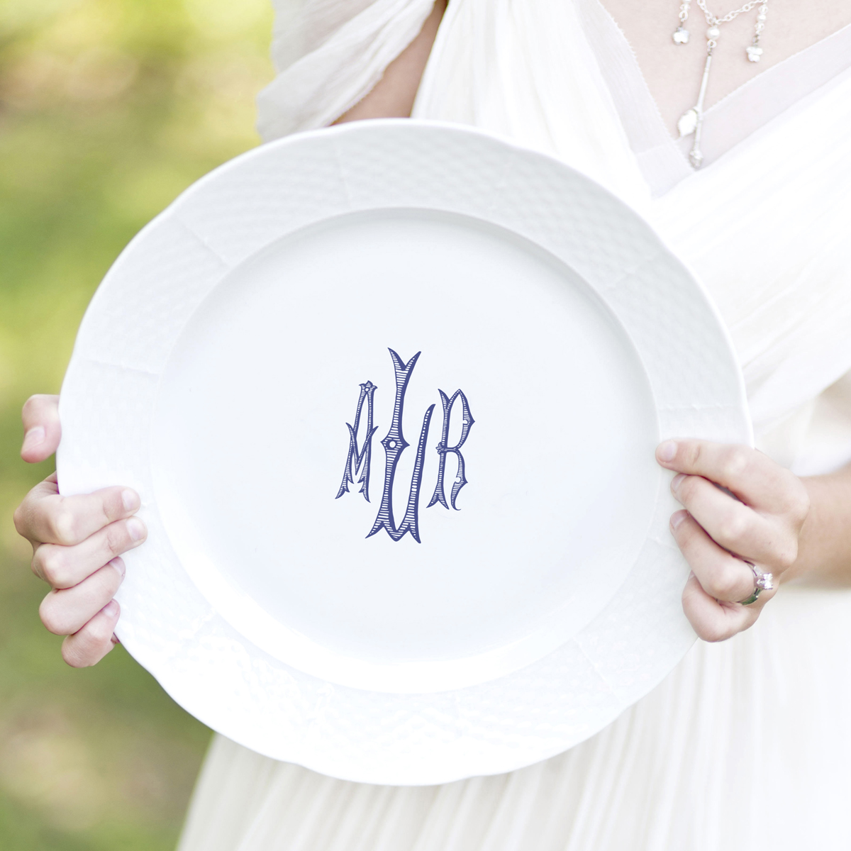 Sasha Nicholas Plates China Crest Monogrammed Monogram Custom Dish Dishes Porcelain Dinnerware Wedding Gift Registry Bridal Heirloom Meaningful *