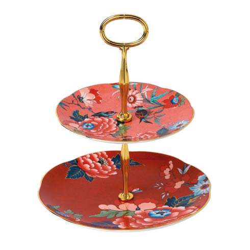 Paeonia Blush Cake Stand Two-Tier (Coral & Red)