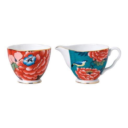 Paeonia Blush Cream & Sugar Set L/S (Green & Red)