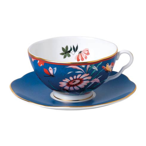 Paeonia Blush Teacup & Saucer Set Blue