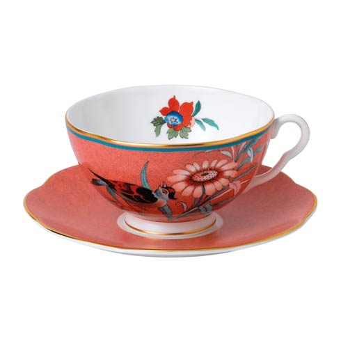 Paeonia Blush Teacup & Saucer Set Coral