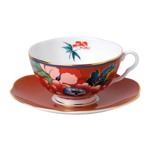 Paeonia Blush Teacup & Saucer Set Red