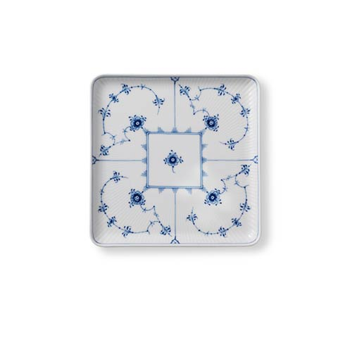 Blue Fluted Plain Square Plate Large