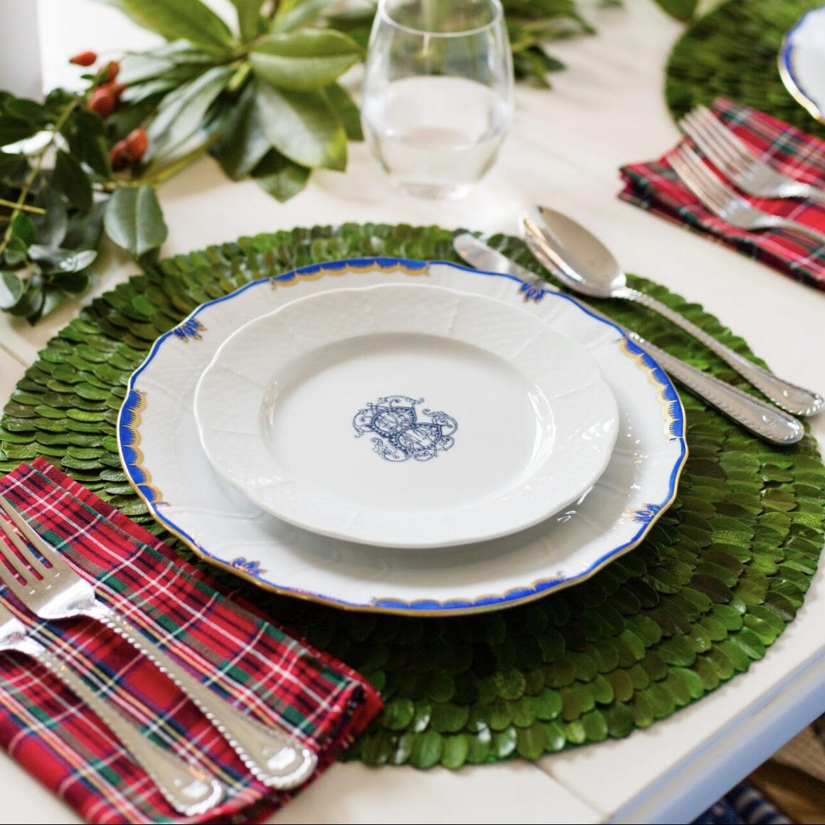 Boxwood placemat with Sasha Nicholas monogrammed and Herend china tablescape for wedding registry