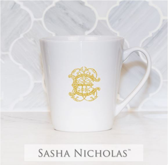 Sasha Nicholas mug Monogram monogrammed custom  Wedding Bridal Gift Registry porcelain european