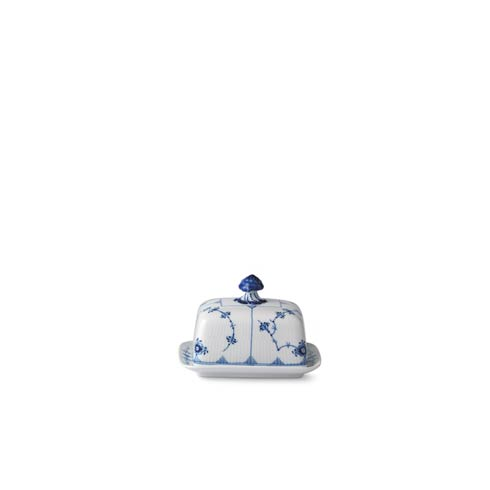 Flutes Body Collections Blue Fluted Plain Butter Dish 14 Oz