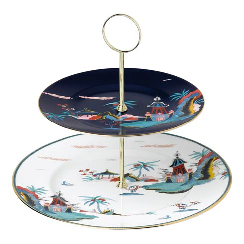 Wonderlust Cake Stand Two - Tier Blue Pagoda