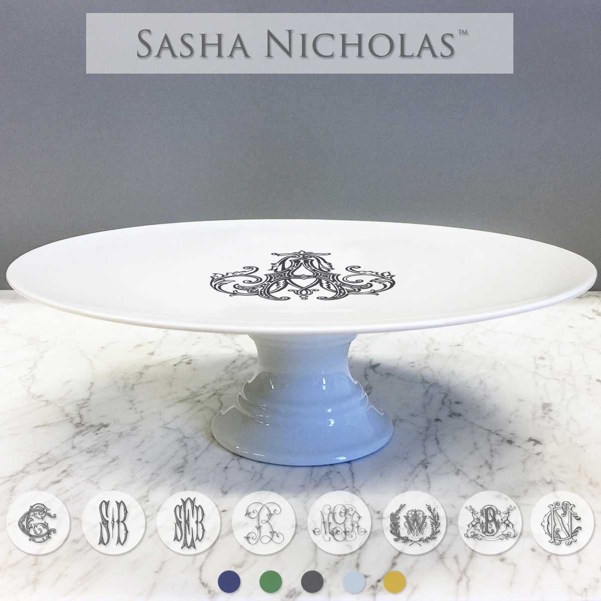 A beautiful addition to your dinnerware collection and to adorn your tablescapes with. It makes the perfect gift for your wedding registry with the included inscription on back of the platter. Choose from their signature font styles or use a custom monogram or crest of your choice! | Sasha Nicholas's white porcelain cake plate