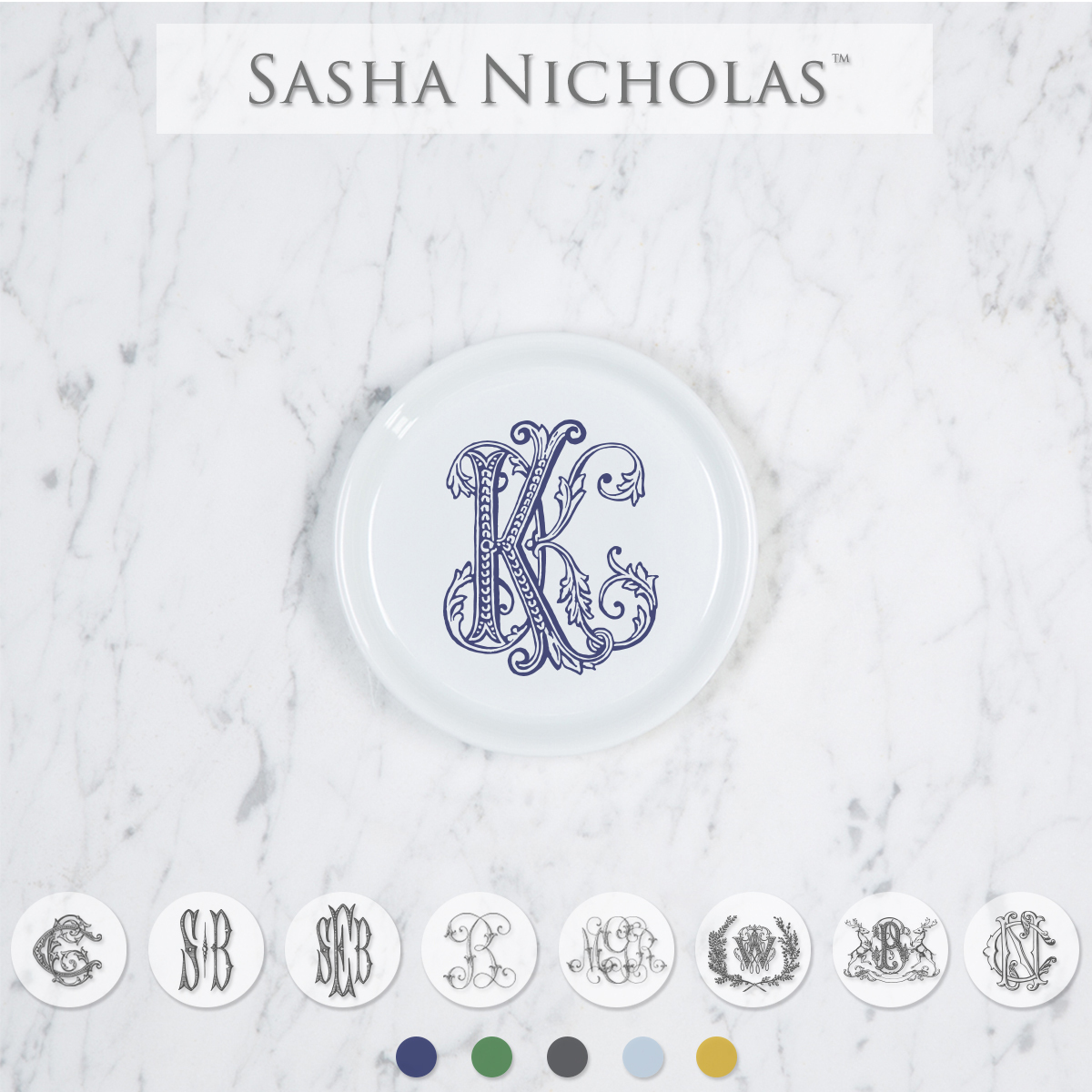 A beautiful addition to adorn your tablescapes with when entertaining and to your dinnerware collection. They make the perfect small gift for your wedding registry. Choose from their signature font styles or use a custom monogram or crest of your choice. | Sasha Nicholas's white porcelain coasters