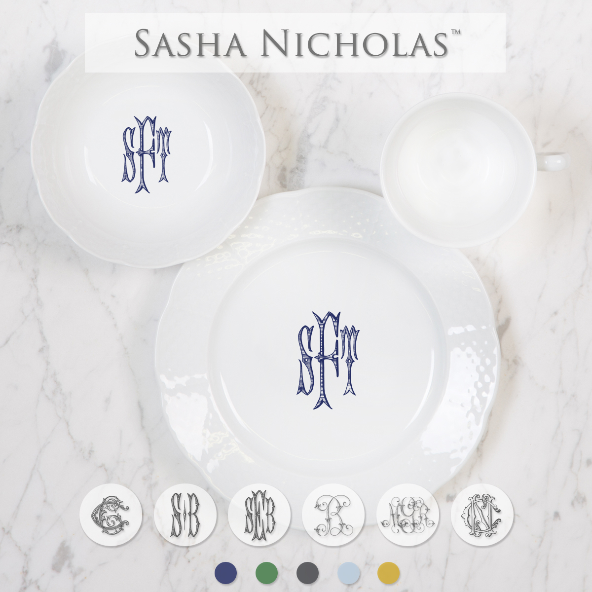 The perfect custom gift for parents, godparents, & grandparents to give for upcoming births & special occasions. Your little one can now have their own set of dinnerware with a personal inscription on back! Choose from their signature font styles or use a custom monogram or crest of your choice. | Sasha Nicholas's white porcelain child & baby set
