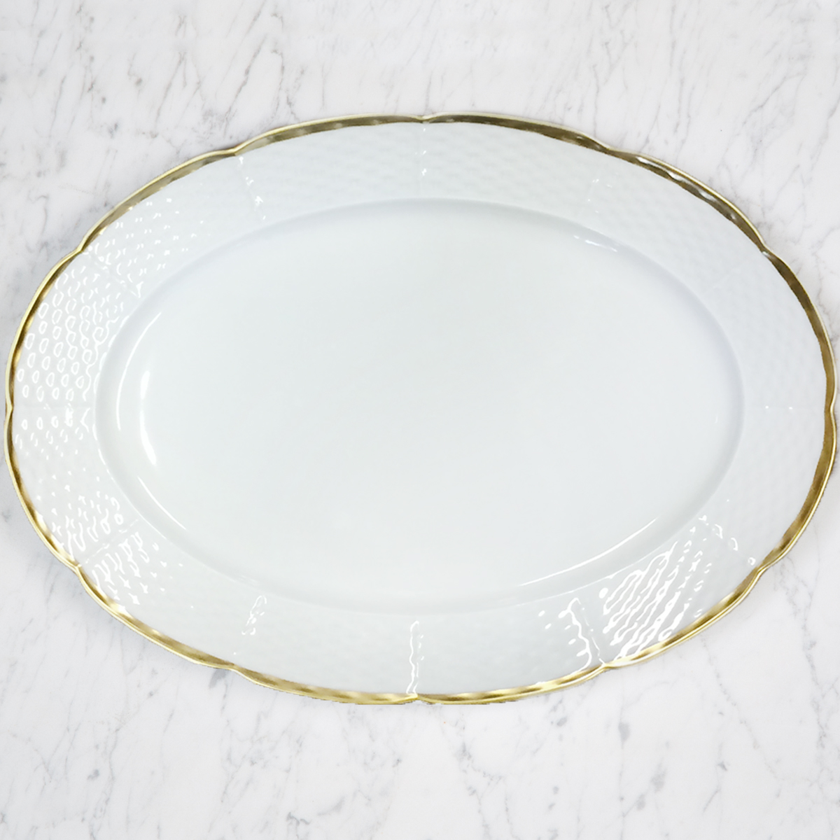 Clote-Wood WEAVE SIMPLY WHITE 24K GOLD OVAL PLATTER