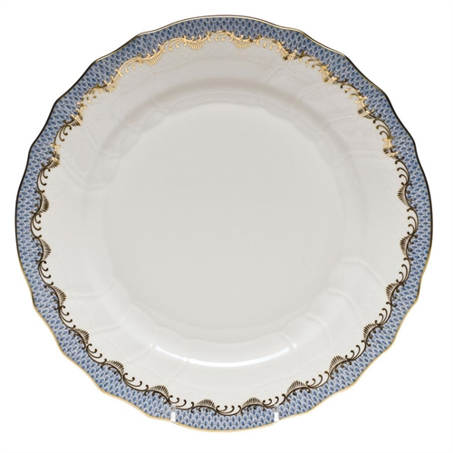 Clote-Wood HEREND FISH SCALE DINNER PLATE, LIGHT BLUE