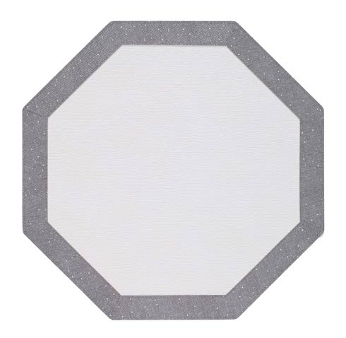 Bordino Silver Sparkle Octagon Mat - Pack of 6