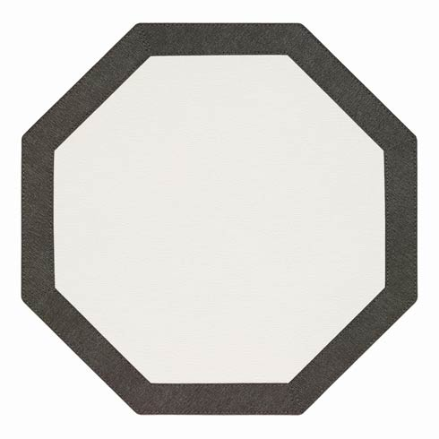 Bordino White Charcoal Octagon Mat - Pack of 6