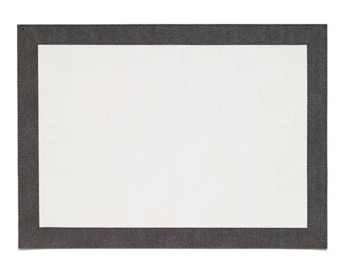 Bordino White Charcoal Rectangle Mat - Pack of 6