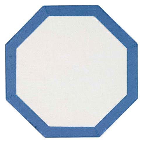 Bordino White Periwinkle Octagon Mat - Pack of 6