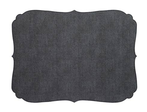 Curly Charcoal Oblong Mat - Pack of 6