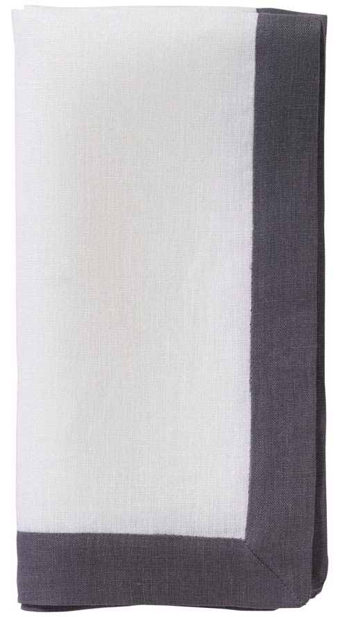 "Orta White/Charcoal 22"" Napkin - Pack of 6"