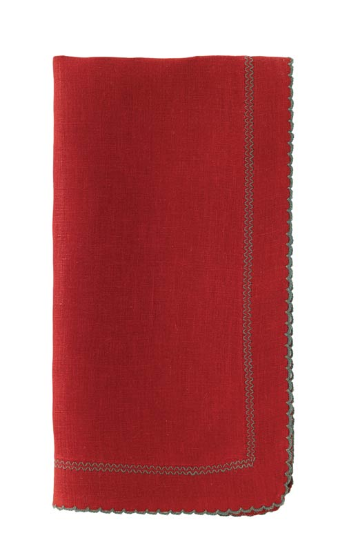 "Picot Red/Evergreen 22"" Napkin - Pack of 6"