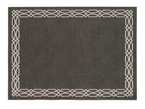 Trellis Charcoal Silver Mat - Pack of 6