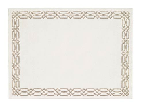 Trellis White Taupe Mat - Pack of 6