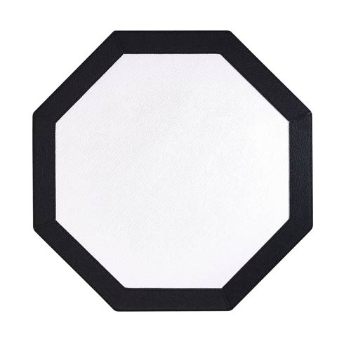 Bordino Pure White Black Octagon Mats - Pack of 4