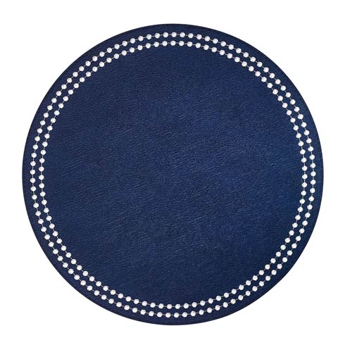 Pearls Navy White Mats - Pack of 4