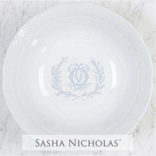A beautiful addition to your dinnerware collection and to adorn your tablescapes with. It makes the perfect gift for your wedding registry with the included inscription on bottom. Choose from their signature font styles or use a custom monogram or crest of your choice! | Sasha Nicholas‰Ûªs white porcelain large serving bowl