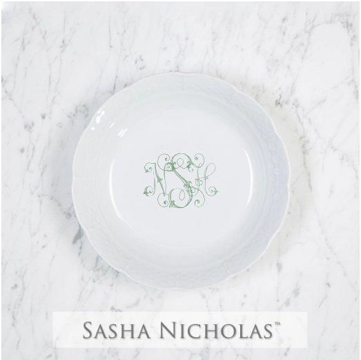 A beautiful addition to your dinnerware collection and to adorn your tablescapes with. It makes the perfect gift for your wedding registry. Choose from their signature font styles or use a custom monogram or crest of your choice!   Sasha Nicholas's white porcelain cereal bowl