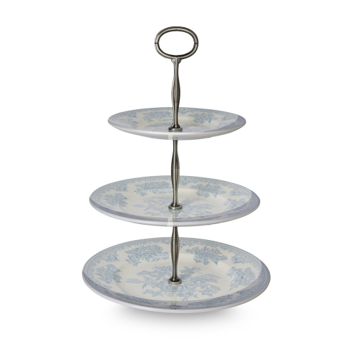 Hyde-Patton Burleigh Blue Asiatic Pheasants 3 Tier Cake Stand