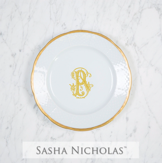 SN-Pantry Weave 24K Gold Salad Plate | 1 Letter Couture, P, Gold