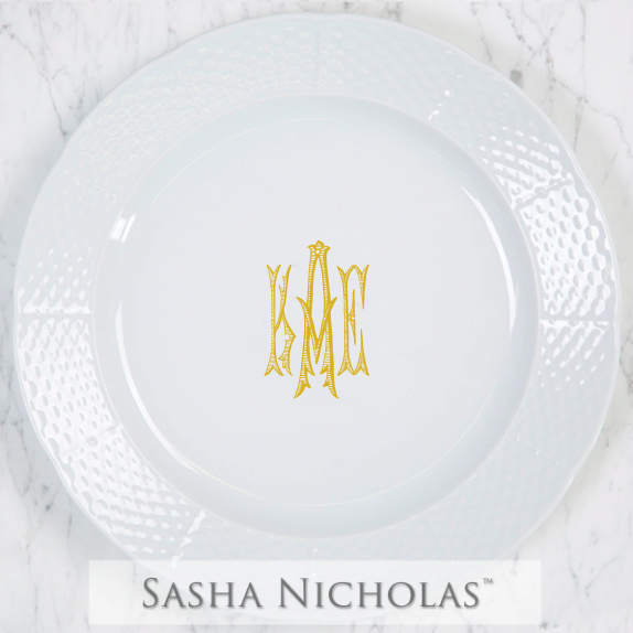 SN-Pantry Weave Charger Plate | Three Letter Romanesque, KAE, Gold