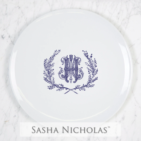 SN-Pantry Imagine Dinner Plate | Couture Wreath, H, Navy