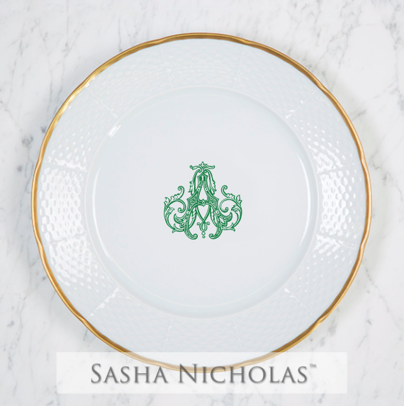 SN-Pantry Weave 24K Gold Dinner Plate | 1 Letter Couture, A, Green
