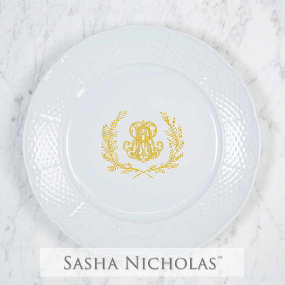 SN-Pantry Weave Dinner Plate | Couture Wreath, R, Gold