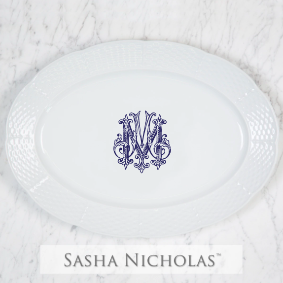 SN-Pantry Weave Oval Platter | 1 Letter Couture, M, Navy