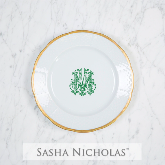 SN-Pantry Weave 24K Gold Salad Plate | 1 Letter Couture, M, Green | Set of Eight